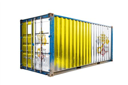 The concept of  Vatican export-import, container transporting and national delivery of goods. The transporting container with the national flag of Vatican, view front Standard-Bild - 129846649
