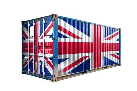 The concept of  United Kingdom export-import, container transporting and national delivery of goods. The transporting container with the national flag of  United Kingdom, view front Standard-Bild - 129846648