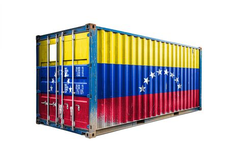 The concept of  Venezuela export-import, container transporting and national delivery of goods. The transporting container with the national flag of Venezuela, view front