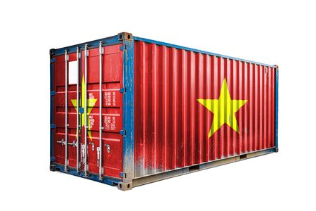 The concept of  Vietnam export-import, container transporting and national delivery of goods. The transporting container with the national flag of Vietnam, view front Standard-Bild - 129846650