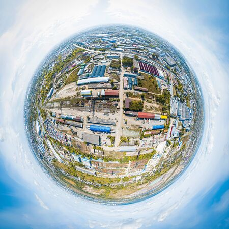Panoramic city 360 shot from above. Top view of the industrial zone: garages, warehouses, containers for storing goods. The concept of storage of goods by importers, exporters, wholesalers, transport