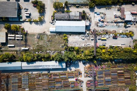 Top view of the industrial zone: garages, warehouses, containers for storing goods. The concept of storage of goods by importers, exporters, wholesalers, transport enterprises, customs Reklamní fotografie