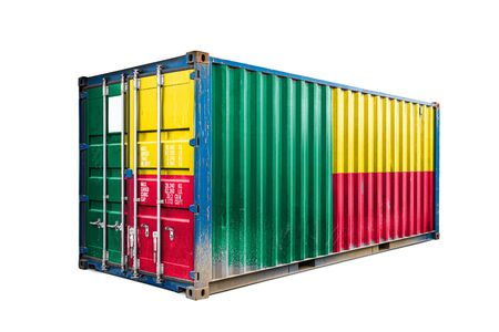 The concept of  Benin export-import, container transporting and national delivery of goods. The transporting container with the national flag of Benin, view front Фото со стока