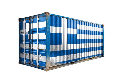 The concept of  Greece export-import, container transporting and national delivery of goods. The transporting container with the national flag of Greece, view front Reklamní fotografie