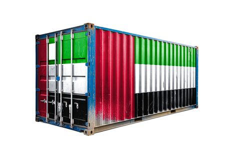 The concept of  United Arab Emirates  export-import, container transporting and national delivery of goods. The transporting container with the national flag of United Arab Emirates, view front Imagens
