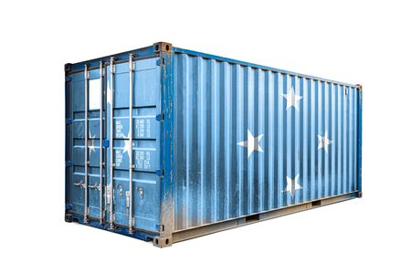 The concept of  Federal States of Micronesia export-import, container transporting and national delivery of goods. The transporting container with the national flag of Micronesia, view front
