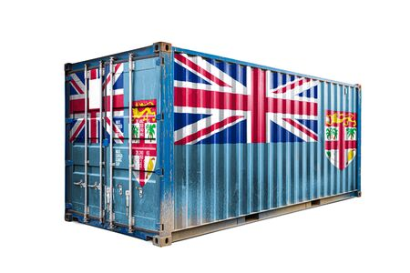 The concept of  Fiji export-import, container transporting and national delivery of goods. The transporting container with the national flag of Fiji  , view front Stockfoto
