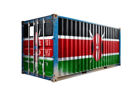 The concept of  Kenya export-import, container transporting and national delivery of goods. The transporting container with the national flag of Kenya