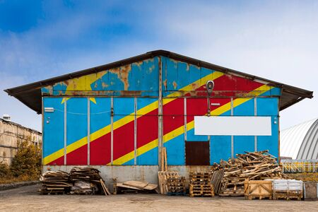 Close-up of the national flag of Democratic Republic of the Congo