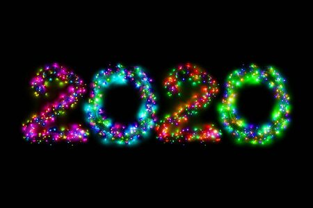Arabic numerals 2020 from a multi-colored electric garland on a black isolated background. New year numbers. A wreath of colored light bulbs. Congratulations frame concept Фото со стока
