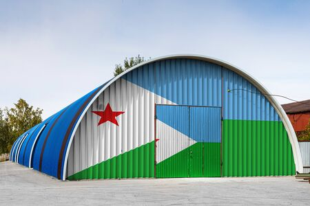 Close-up of the national flag of Djibouti