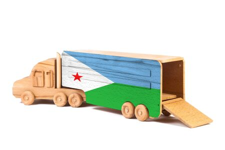 Close-up of a wooden toy truck with a painted national flag Djibouti. The concept of export-import,transportation, national delivery of goods