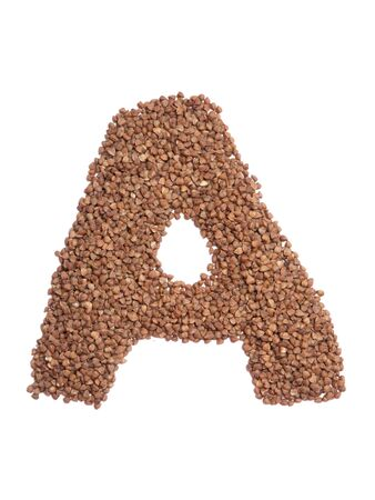Letter A of the English alphabet from  brown dry buckwheat  on a white isolated background. Food pattern made from groats. Bright alphabet for shops.  Buckwheat for porridge 写真素材