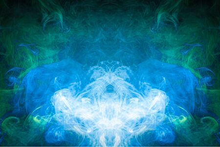 Pattern, Neon blue and  green  smoke in the  on a dark isolated background. Background from the smoke of vape
