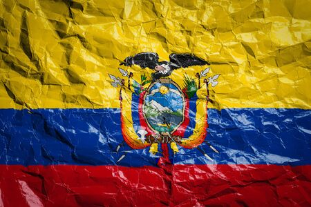 National flag of Ecuador on crumpled paper. Flag printed on a sheet. Flag image for design on flyers, advertising. Imagens