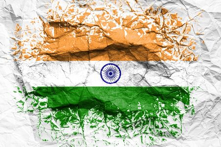 The national flag of the India  is painted on crumpled paper. Flag printed on the sheet. Flag image for design on flyers, advertising.