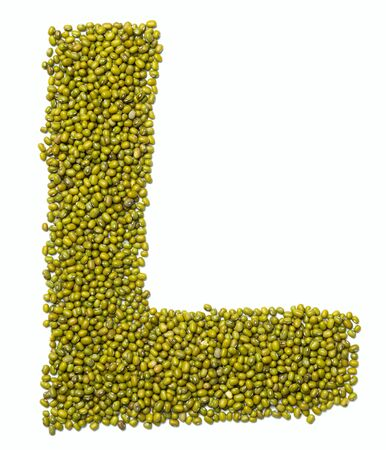 Letter L of the English alphabet from green mung bean on a white isolated background. Food pattern made from mung. Bright alphabet for shops.