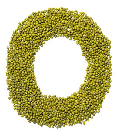 Letter O of the English alphabet from green mung bean on a white isolated background. Food pattern made from mung. Bright alphabet for shops.