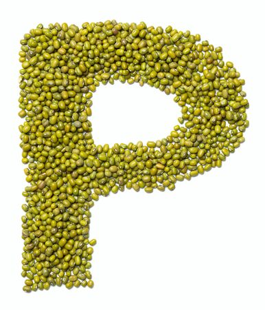 Letter P of the English alphabet from green mung bean on a white isolated background. Food pattern made from mung. Bright alphabet for shops.
