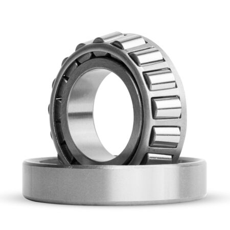 Roller bearing on white background isolated. Part of the car Stock Photo