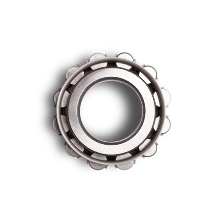 Close up of silver metal bearings for industry   on white isolated background. Part of the car 版權商用圖片