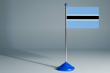 The 3d rendering  realistic national flag of Botswana on steel pole on gray isolated background.  Blank table flag , suitable for design, mockup