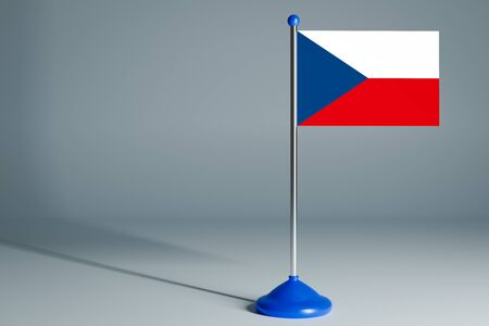 The 3d rendering  realistic national flag of Czech on steel pole on gray isolated background.  Blank table flag , suitable for design, mockup 版權商用圖片