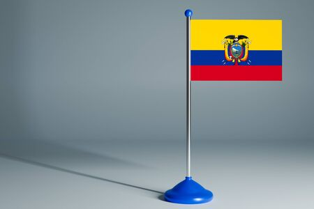 The 3d rendering  realistic national flag of Ecuador on steel pole on gray isolated background.  Blank table flag , suitable for design, mockup 版權商用圖片