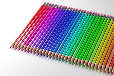 3D rendering a set of beautiful even rainbow colored pencils on a white isolated background. Concept of a multinational family and equality in the world.