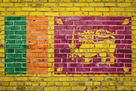 National flag of Sri Lanka  depicting in paint colors on an old brick wall. Flag  banner on brick wall background.