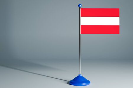 The 3d rendering  realistic national flag of Austria on steel pole on gray isolated background.  Blank table flag , suitable for design, mockup