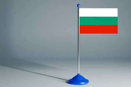 The 3d rendering  realistic national flag of Bulgaria on steel pole on gray isolated background.  Blank table flag , suitable for design, mockup