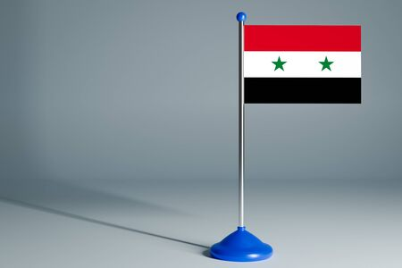 The 3d rendering  realistic national flag of Syria  on steel pole on gray isolated background.  Blank table flag , suitable for design, mockup Stock Photo