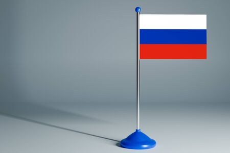 The 3d rendering  realistic national flag of Russia on steel pole on gray isolated background.  Blank table flag , suitable for design, mockup Stock Photo