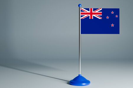The 3d rendering  realistic national flag of New Zealand on steel pole on gray isolated background.  Blank table flag , suitable for design, mockup