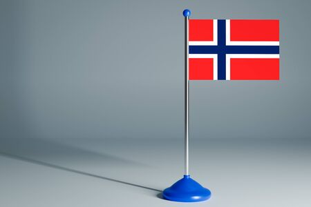 The 3d rendering  realistic national flag of Norway on steel pole on gray isolated background.  Blank table flag , suitable for design, mockup Stock Photo