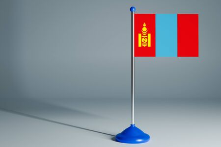 The 3d rendering  realistic national flag of Mongolia on steel pole on gray isolated background.  Blank table flag , suitable for design, mockup
