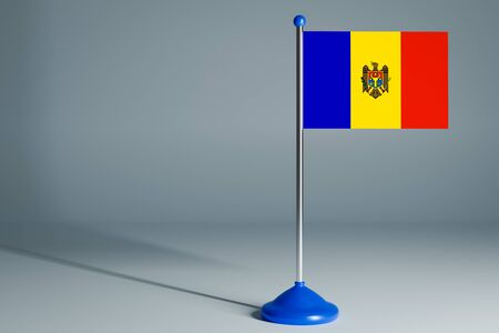 The 3d rendering  realistic national flag of Moldova on steel pole on gray isolated background.  Blank table flag , suitable for design, mockup