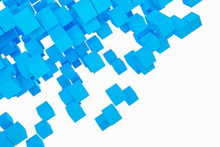 3D illustration background, texture of a large number of doves geometric shapes of different sizes and shapes. Blue tetris shapes with motion effect. Pixel background