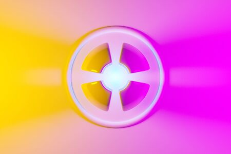 3D illustration of a neon pink and yellow ball  shines its rays in different directions on light background . Ð¡yber shape in virtual reality.  Simple geometric shapes