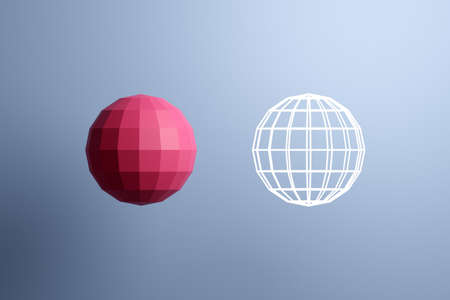 3d illustration of a pink ball, consisting of a large number of polygons and next to a transparent ball shape with from white lines. Futuristic origami, abstract modeling. Cybernetic ball shape for use in science and technology.