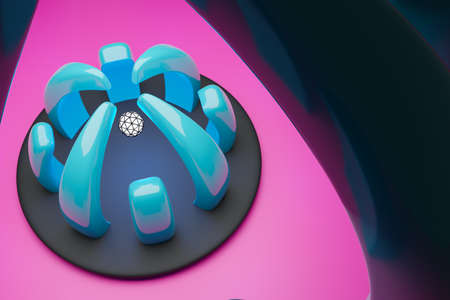 3D illustration of a blue cyber portal with a white luminous ball inside. Fantastic cell.Cyber shape in virtual reality. Simple geometric shapes Фото со стока