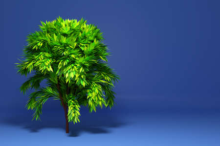 3D illustration a big green deciduous tree with a shadow on a purple background. Фото со стока