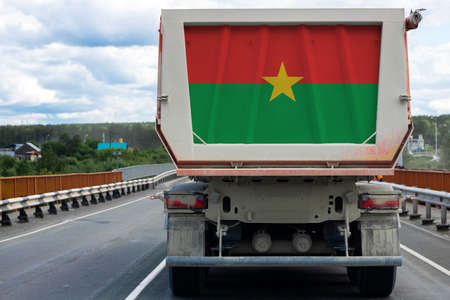 Big  truck with the national flag of  Burkino Faso