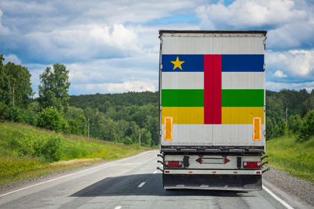 A  truck with the national flag of Central African Republic