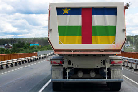 Big  truck with the national flag of  Central African Republic
