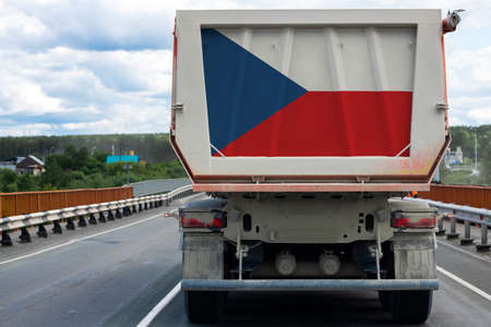 Big  truck with the national flag of  Czech