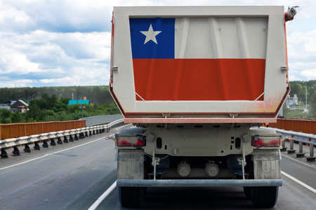 Big  truck with the national flag of Chile