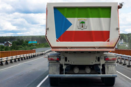 Big  truck with the national flag of Equatorial Guinea