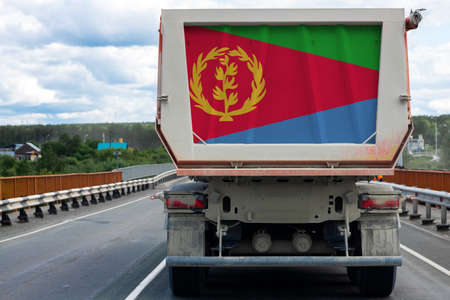 Big  truck with the national flag of  Eritrea